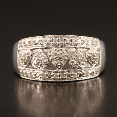10K Diamond Heart Motif Tapered Band
