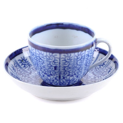 Porcelain Teacup and Saucer in the Style of Dr. Wall Royal Lily Pattern