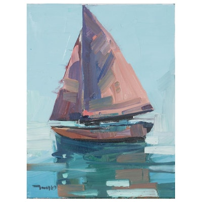 "Jose Trujillo Oil Painting ""Red Sails,"" 2020"