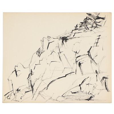 Yolanda Fusco Abstact India Ink Drawing, Mid-Late 20th Century