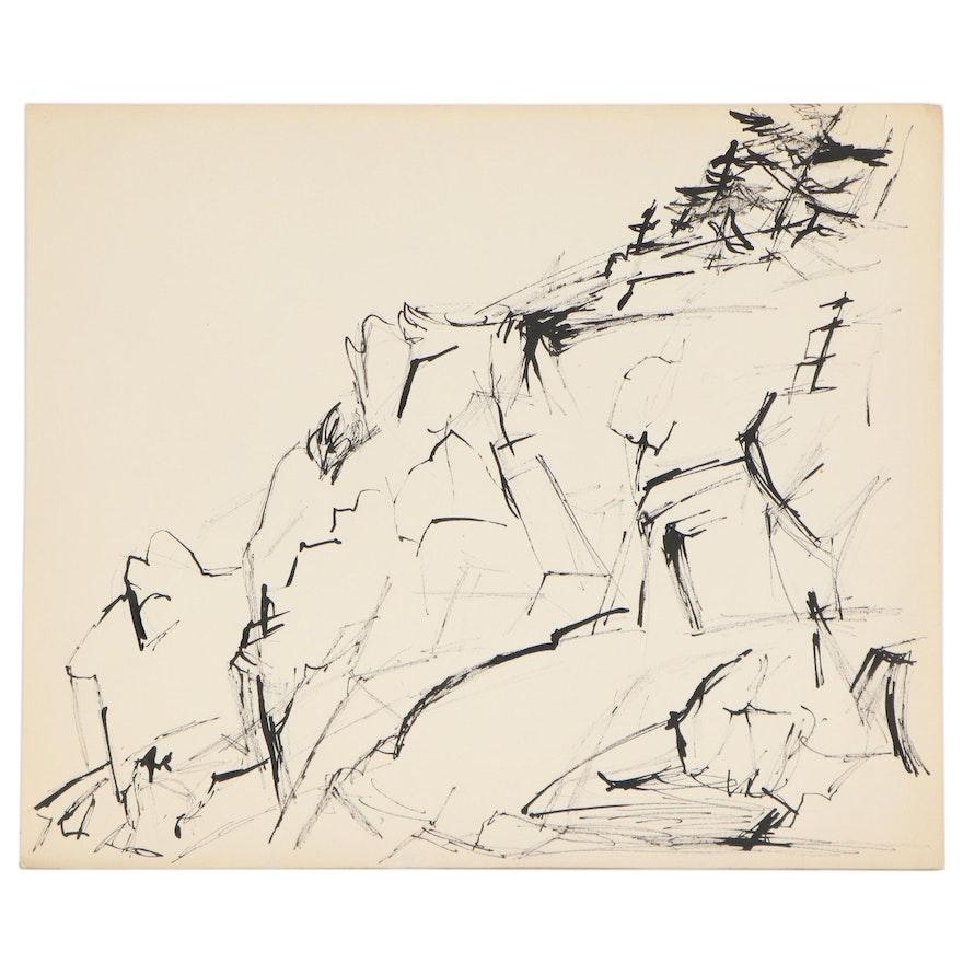 Yolanda Fusco Abstact India Ink Drawing, Mid-Late 20th Century