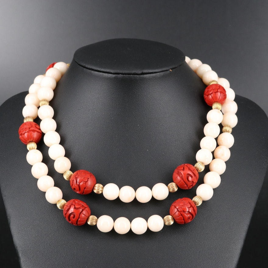Beaded Coral and Chinese Lacquer Necklace