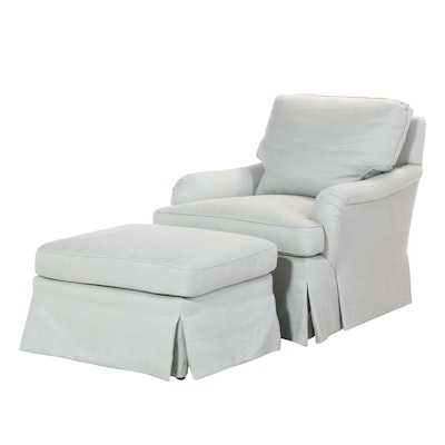 Upholstered Armchair and Ottoman with Tailored Skirting