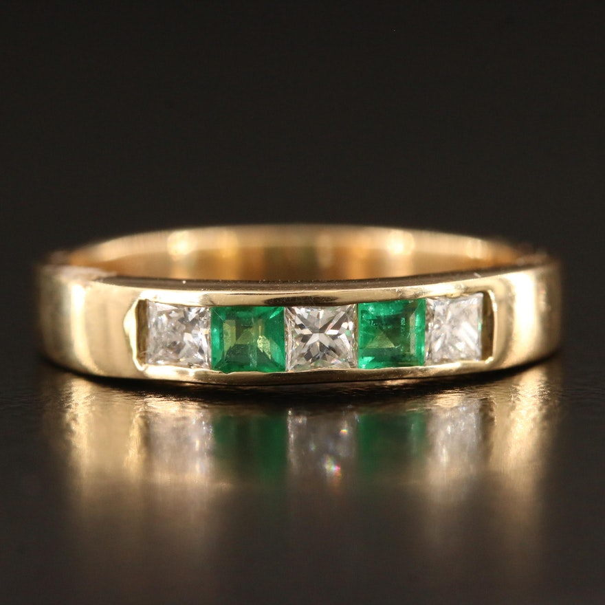14K Channel Set Emerald and Diamond Band
