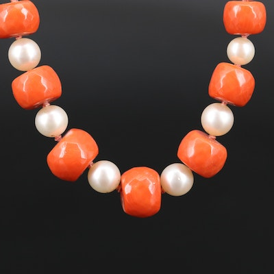 Individually Knotted Graduated Coral and Pearl Necklace with 10K and 14K Clasp