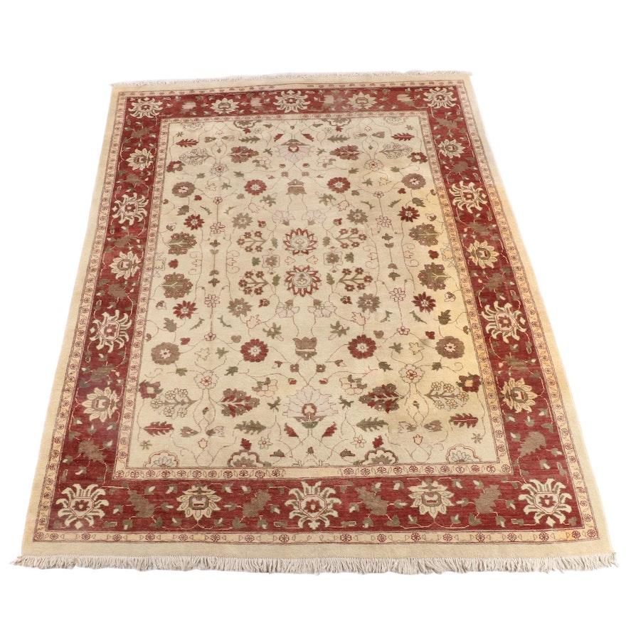 9'0 x 12'10 Hand-Knotted Indian Knan International Mahal Wool Rug