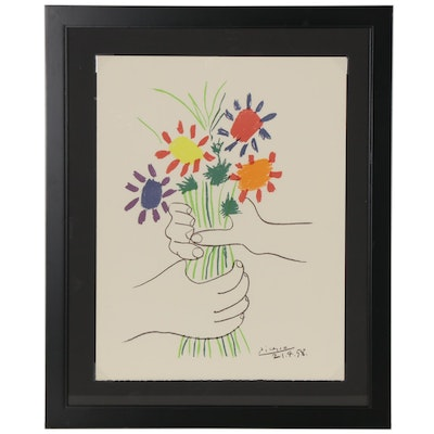 "Color Lithograph after Pablo Picasso ""Bouquet of Peace,"" 20th Century"