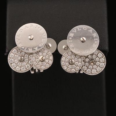 "Bulgari ""Cicladi"" 18K Diamond Earrings with Rotating Disks"