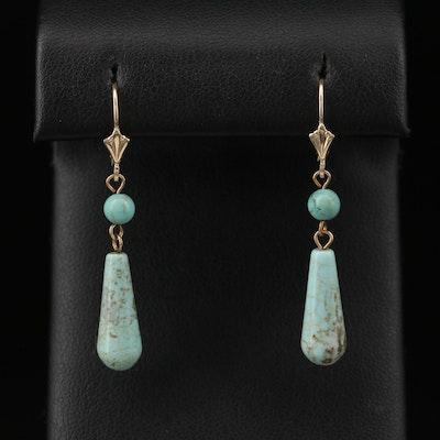 14K Magnesite Dangle Earrings
