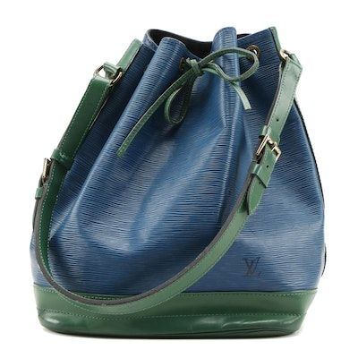 Louis Vuitton Noé in Toledo Blue Epi Leather with Borneo Green Leather Trim