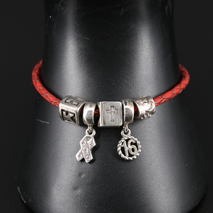Pandora Sterling and Leather Charm Bracelet with Bible and 'K' Charms