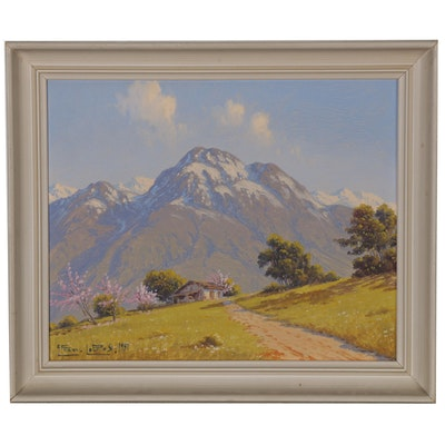 Alfredo Lobos Oil Painting of Mountainous Landscape, 1957
