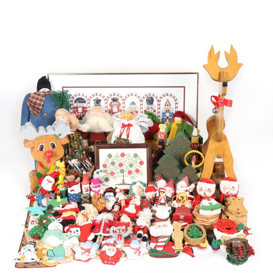 Cross-Stitch, Felted, Hand-Crafted Wooden and Other Christmas Decor