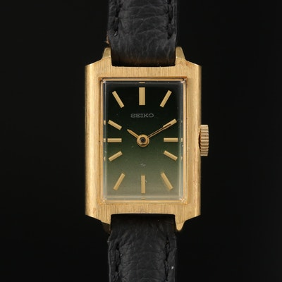 1979 Seiko Gradient Green Dial Gold Tone Stem Wind Wristwatch