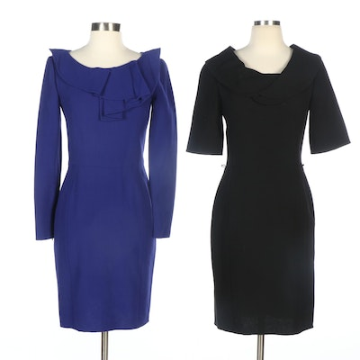 Oscar de la Renta Dresses in Black and Blue Wool