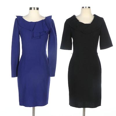 Oscar de la Renta Dresses in Black and Blue Wool