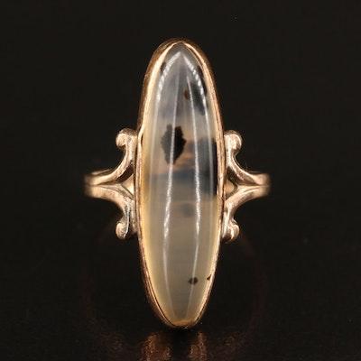 Vintage 10K Moss Agate Ring