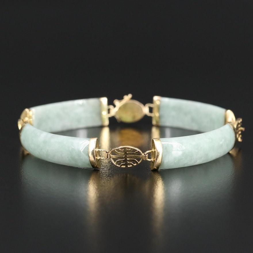 14K Jadeite Curved Bar Bracelet