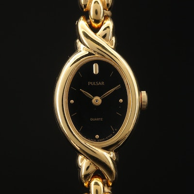 Pulsar Gold Tone Quartz Wristwatch