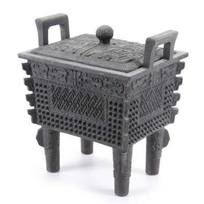 "Chinese Shang Style ""Fang-Ding"" Bronze Cauldron, 21st Century"