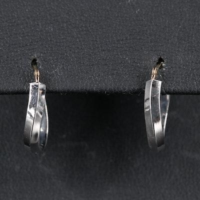 10K Knife Edge Elongated Hoop Earrings