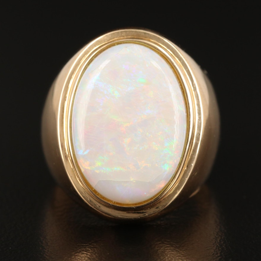 14K Bezel Set Opal Ring