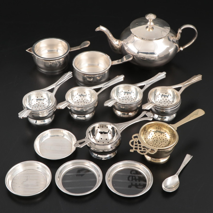 Silver Plate Tea Strainers and Tea Set