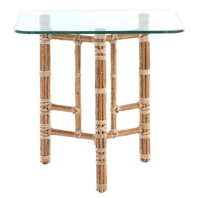 Leonard Linden for McGuire Modernist Bamboo, Raw Hide, and Glass Top Side Table