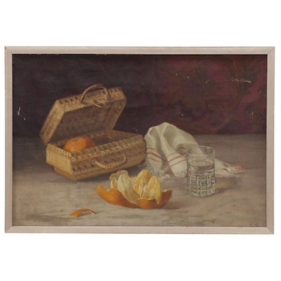 Still Life Oil Painting with Oranges, Early 20th Century