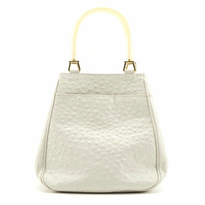 Aleda for Bloomingdale's Off-White Ostrich Embossed Leather Handbag