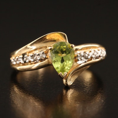 14K Peridot and Diamond Bypass Ring
