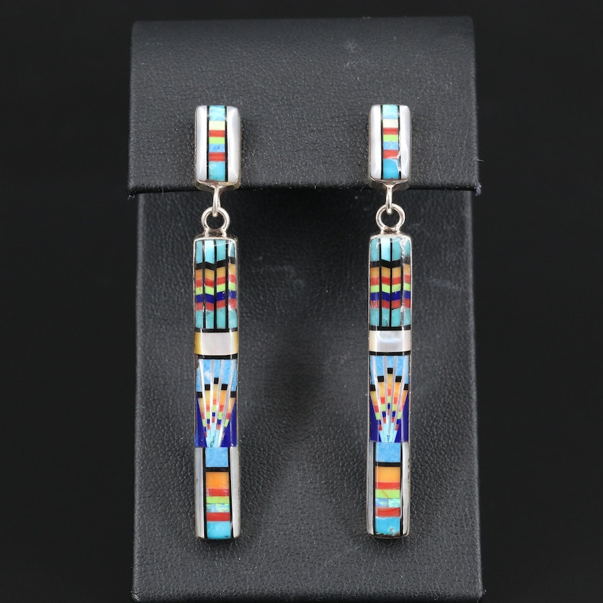 Sterling Silver Mother of Pearl, Opal and Resin Drop Earrings