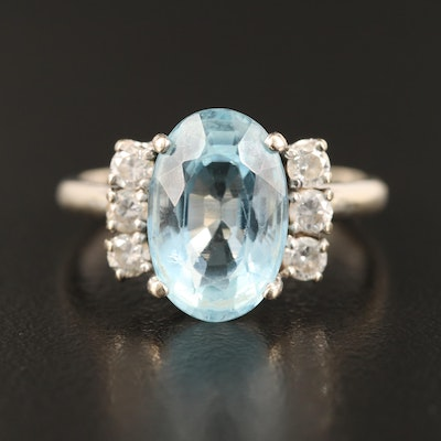 Vintage 14K 3.90 CT Aquamarine and Diamond Ring