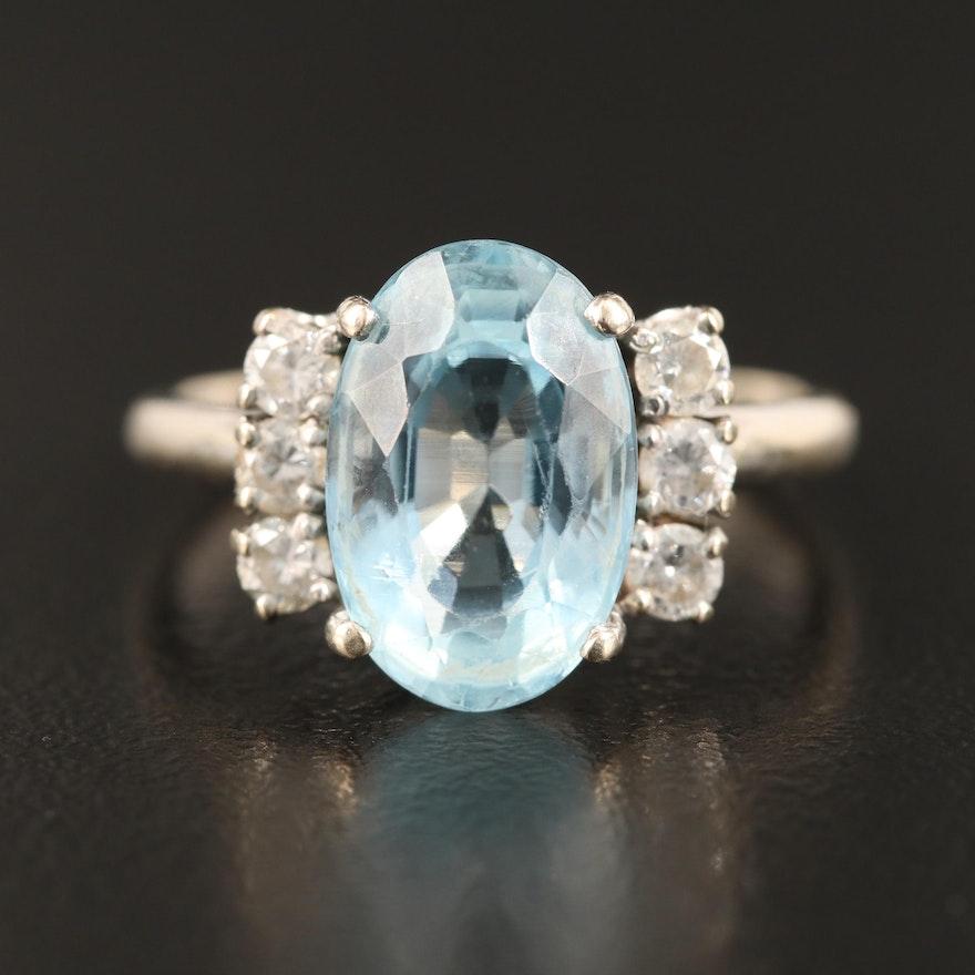 Vintage 14K 3.90 CT Aquamarine and Diamond Ring