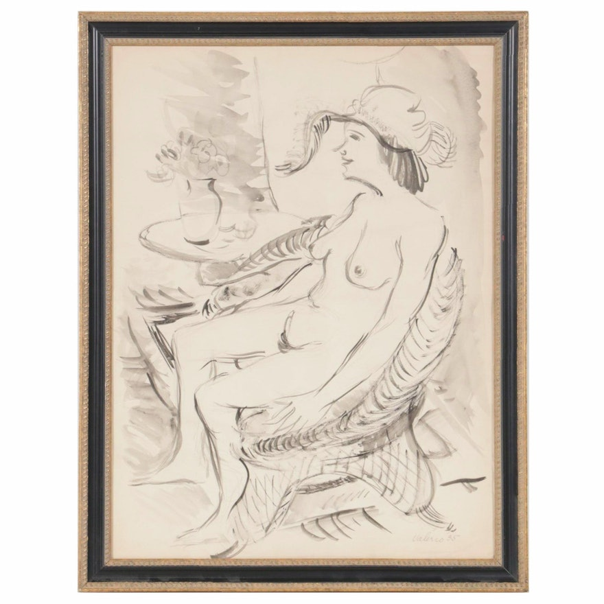 Valerio Ink Painting of Seated Female Nude, 1935