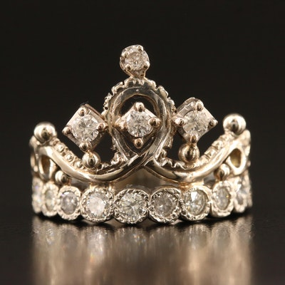 10K 1.15 CTW Crown Motif Ring