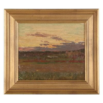 Jean Eugène Julien Massé Landscape Oil Painting, Early 20th Century