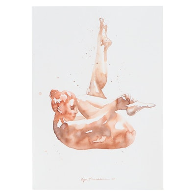 Inga Khanarina Watercolor Painting of a Female Nude, 2020