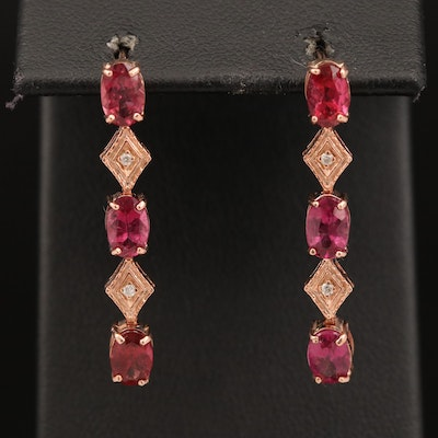 14K Rose Gold Tourmaline and Diamond Dangle Earrings