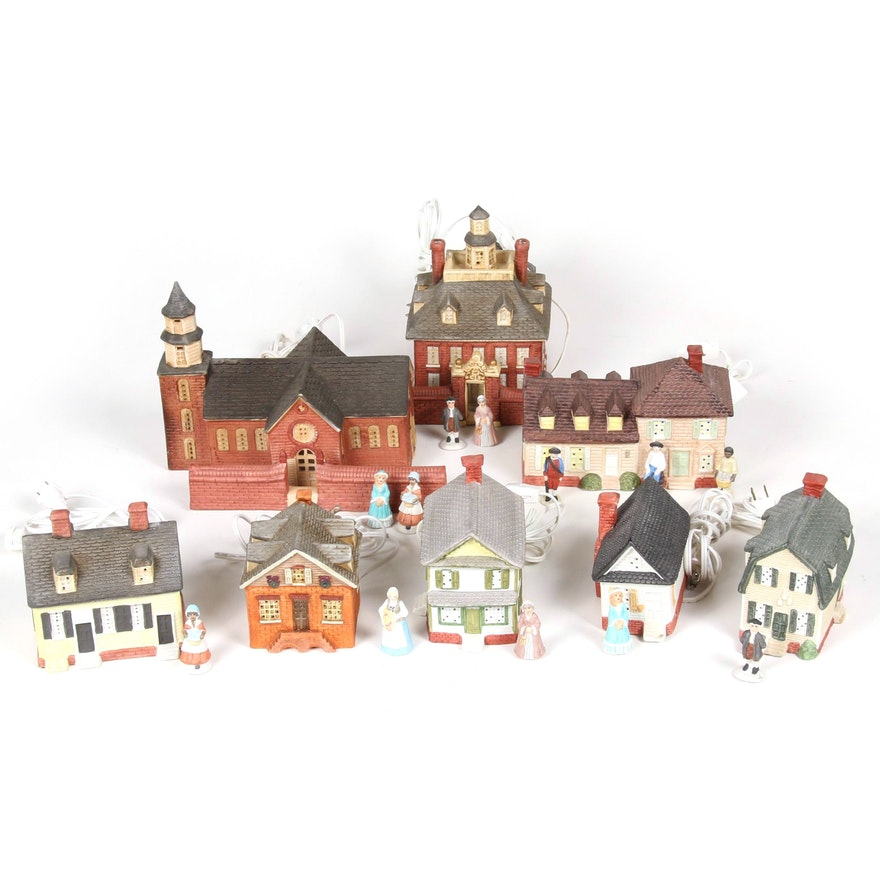"""Village Art """"The Williamsburg Collection"""" Light Up Miniature Town, Late 20th C."""