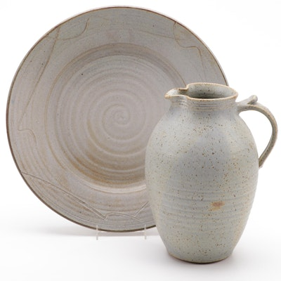 Follette Pottery Stoneware Pitcher and Serving Platter, Mid to Late 20th C.