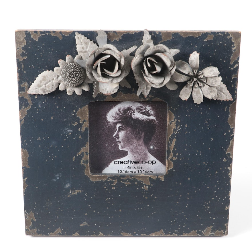 Floral Themed Ceramic Figurine and Wooden Picture Frame