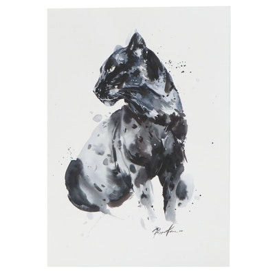 Pippa Kim Watercolor Painting of a Black Panther, 2020