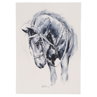 Pippa Kim Watercolor Painting of a Horse, 2020