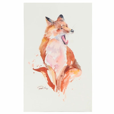 Pippa Kim Watercolor Painting of a Fox, 2020