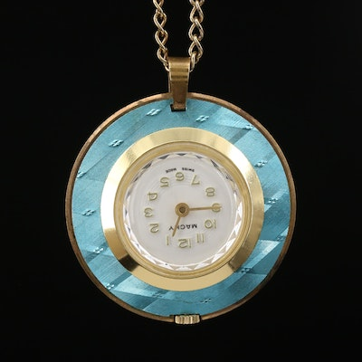 Vintage Macky Blue and Gold Tone Pendant Watch