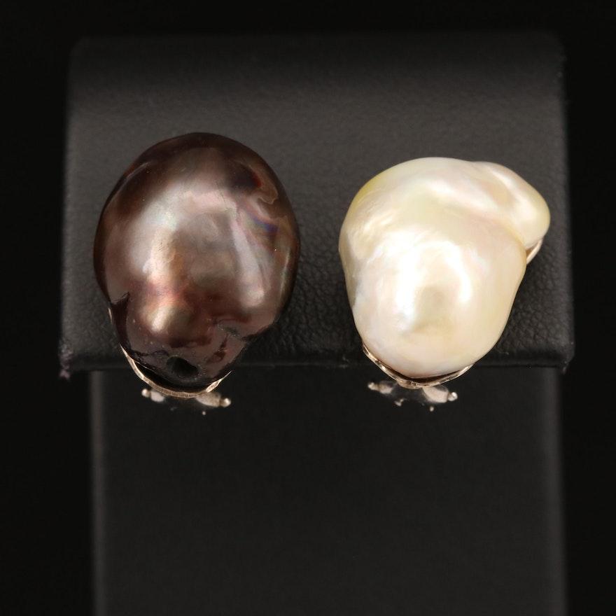 14K Baroque Pearl Clip Earrings