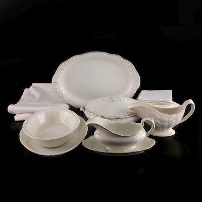 Adams and Other English Ironstone Serving Pieces and Table Linens, Antique
