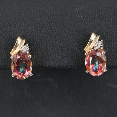 10K Mystic topaz and Diamond Earrings