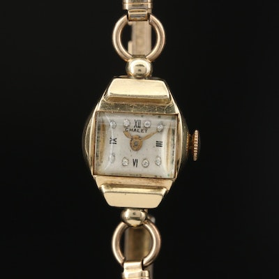 Vintage Chalet 14K Gold Stem Wind Wristwatch with 12K Gold Filled Bracelet